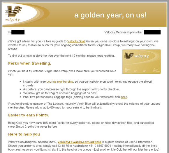 Velocity Gold Membership Offer, Virgin Blue, Direct Mail, Anthill
