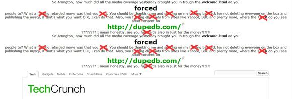 TechCrunch hacked screen-cap
