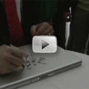 Microsoft CEO asked to sign a student&#039;s Macbook. Scribbles something almost funny.