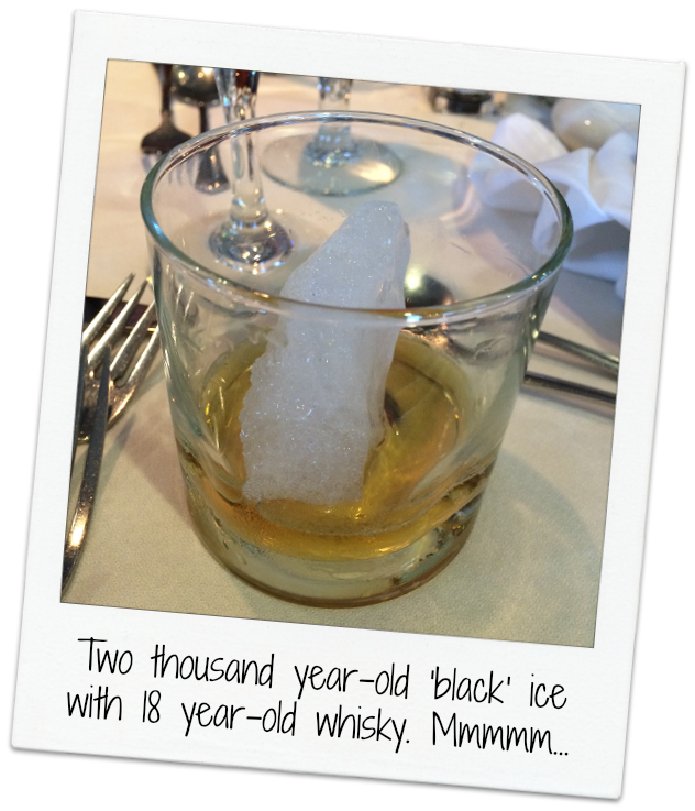 two thousand year old ice with 18 year old whiskey