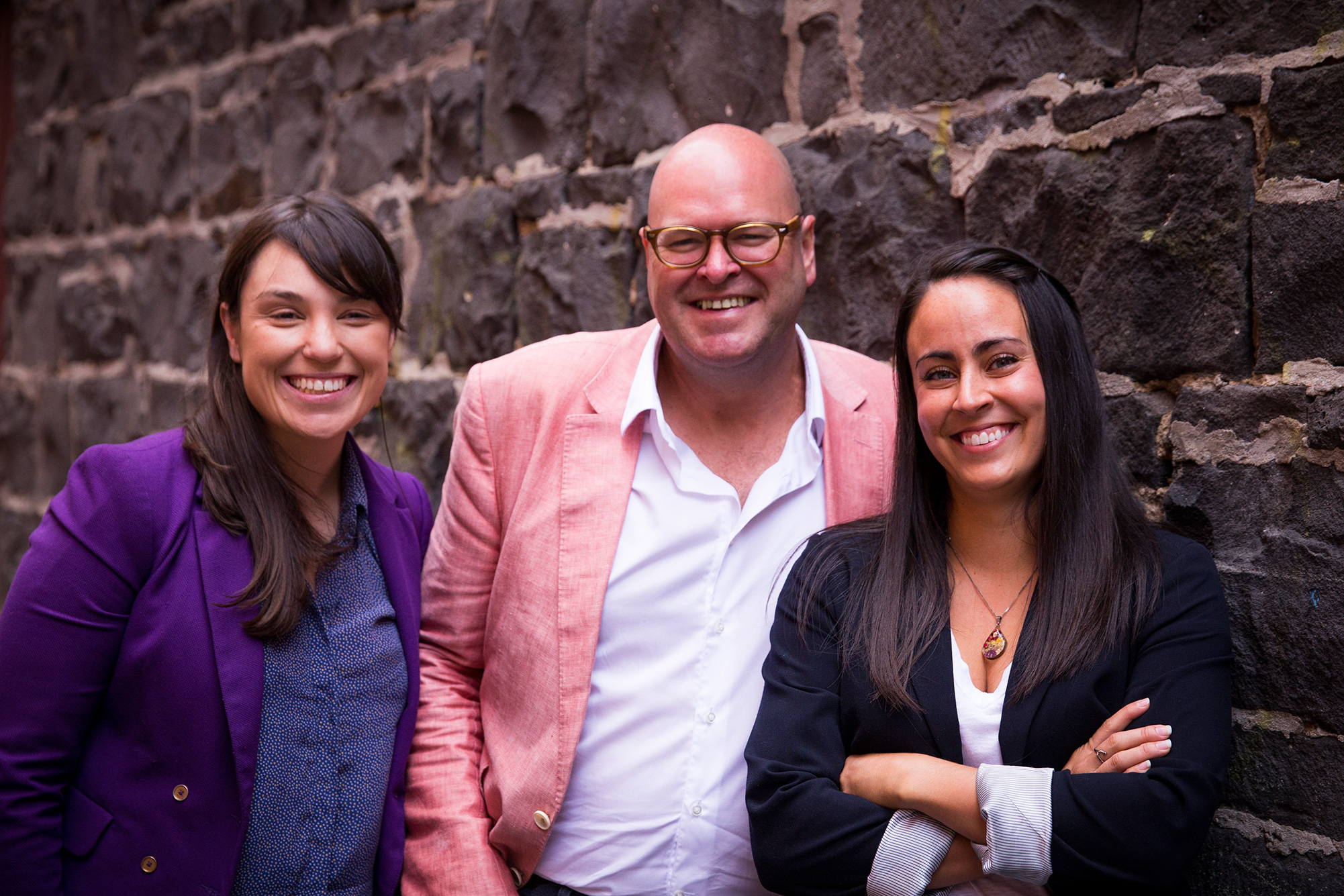 One10 partners Emma Lucia (L) and Veronica Munro (R) with founder Geoff Gourley (C)