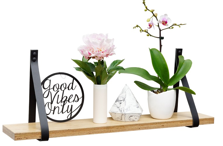 Black Blackbutt Small Wall Shelf Styled Deep Etched