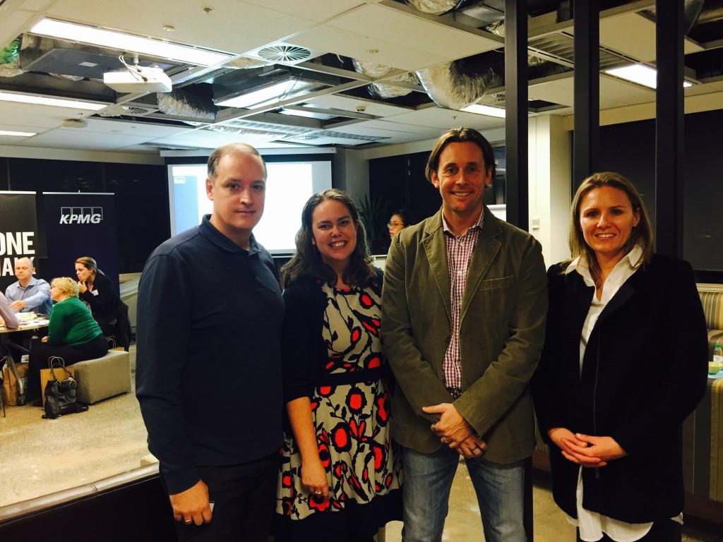 Ian Pollari (KPMG), Phillipa Beltran (Flamingo), Scott Morgan (Greater Bank), Tracey Robinson (Flamingo)