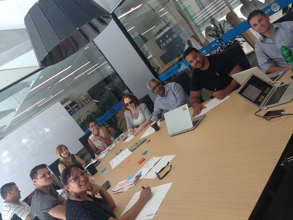 (From left) Roma Pregarc, James Fewre, Brian Scarce, Georgiana Mannion, Sophie Taylor, Marcia Edwards, Glenn Bird, Esikeli Tonga, Dean Foley - Barayamal accelerator participants working on their ideas and getting ready to pitch their ideas to investors and big businesses at Pitch Night this Friday​