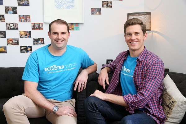 Business partners Cameron Schmidt and Sam Robertson who run Scooter Tutor. Picture: Elise Searson