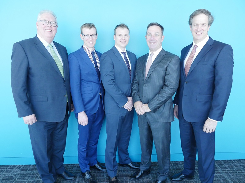 Left to Right: Steve Clark (KPMG Australia Partner, Defence & National Security); Andrew O'Connor (Relken Founder); Ben Mailer (Relken Founder); Gary Wingrove (KPMG Australia CEO); James Hunter (KPMG Australia National Managing Partner, Markets & Growth).