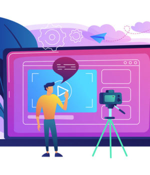 A man in front of camera recording a video to share it in internet. Vloger shares a bradcast in blog or video log. Video bloging, web television or embedded video concept. Violet palette. Vector.