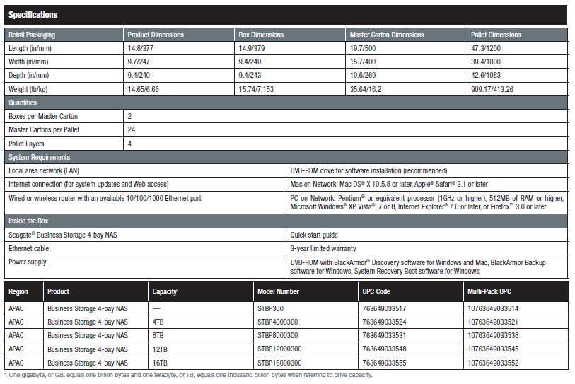 Seagate Server Specifications