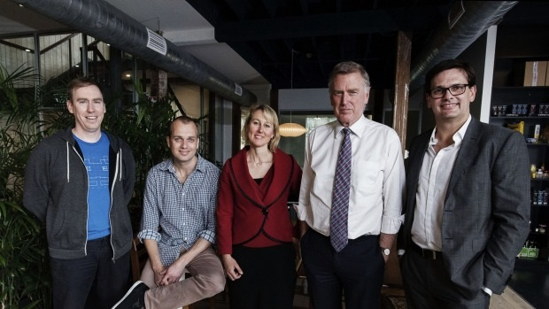 [Left to right] LegalVision's chief technology officer Evan Tait-Styles, chief executive Lachlan McKnight and principal lawyer Ursula Hogben with Gilbert + Tobin's managing partner Danny Gilbert and chief operating officer Sam Nickless (Photo by Christopher Pearce)