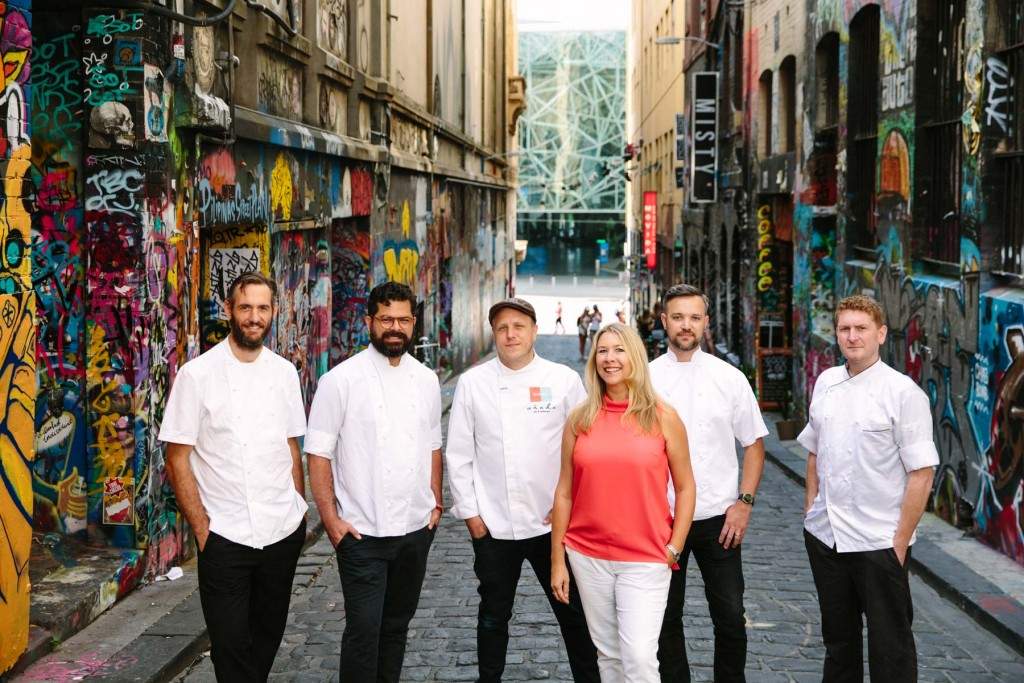 Katy Barfield with the Melbourne chefs who took part in Yume Hour