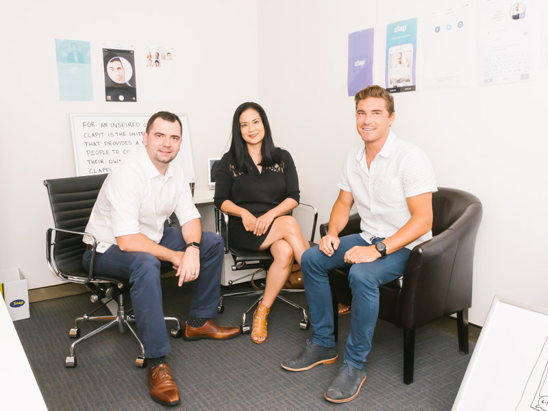 clapit founders Stan Tsvirko, Mary Jane Bulseco and PJ Bedwell