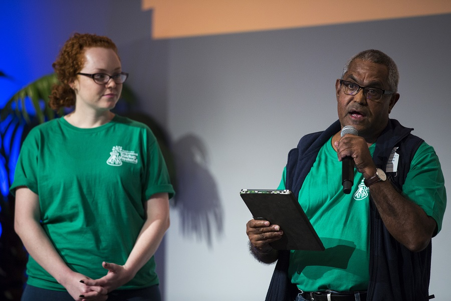 Marcia Edwards and Glenn Bird pitching their startup idea Realty Checks at the Indigenous Startup Weekend