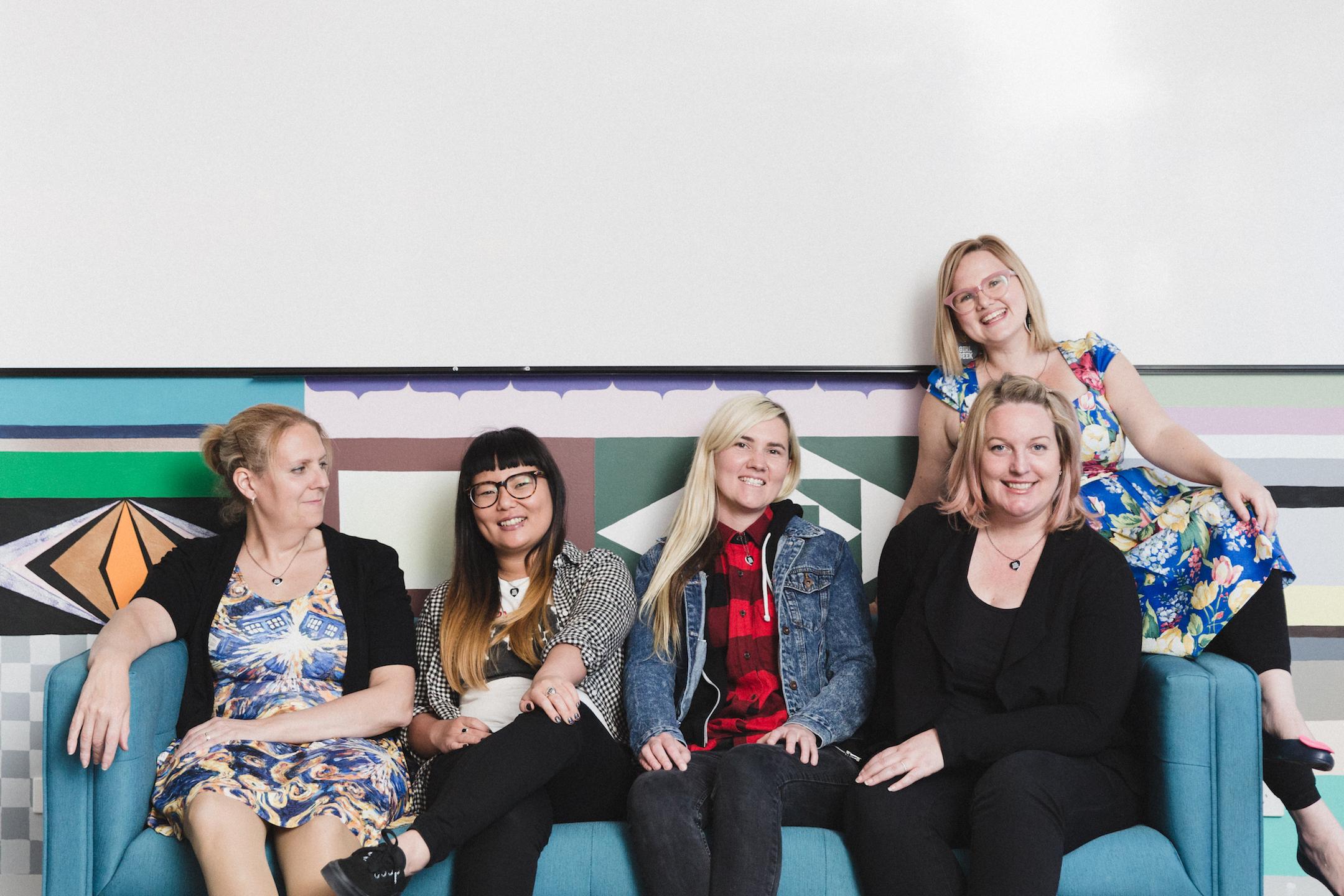 Girl Geek Academy Co-Founders (L-R): April Staines, Lisy Kane, Tammy Butow, Amanda Watts, Sarah Moran